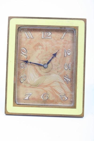 1:Period Nouveau Desk Clock Gold Leaf Painted on Ivory