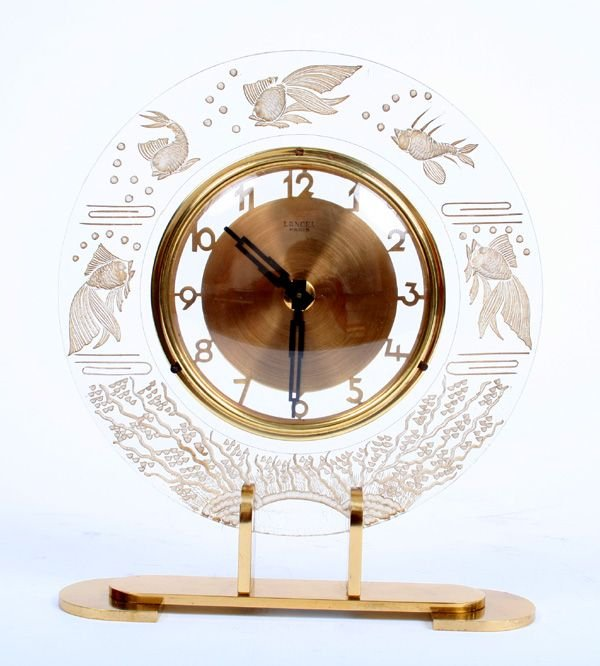 4: Signed Lancel Mantle Clock Oceanic Motif in Lucite