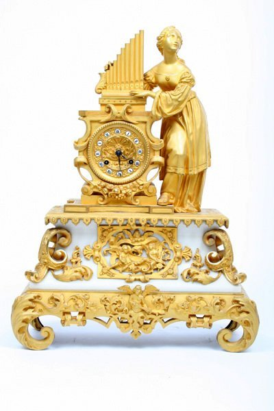 6: Early 19 C. French Empire Mantle Clock with Mercury