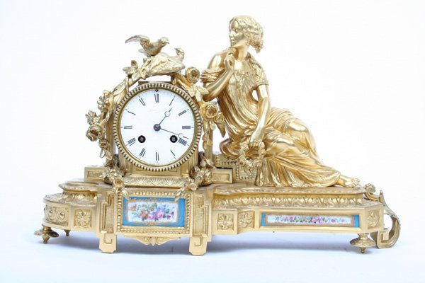 7:19th C Bronze Sevres Mantle Clock A. E. SAVORY & SONS