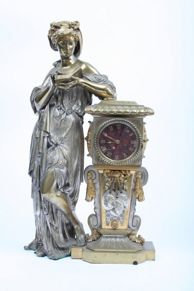 10: Large Gilt and Silvered Bronze Mantle Clock c.1880s