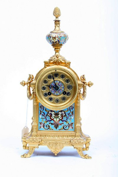 13: Bronze Champlene Clock with Arabic Numerals
