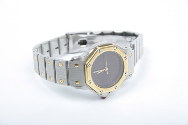 20: Steel & 18K Cartier Santos Lady's Wristwatch
