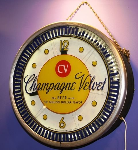 "120: Champagne Velvet Beer 18"" Commercial Clock Sign"
