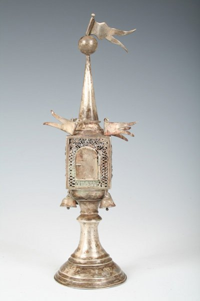 215: 19th C Russian Silver Spice Tower - Judaica
