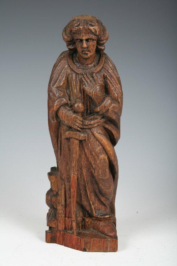 1004: Charming 16th C. Flemish Oak Carving of a Saint