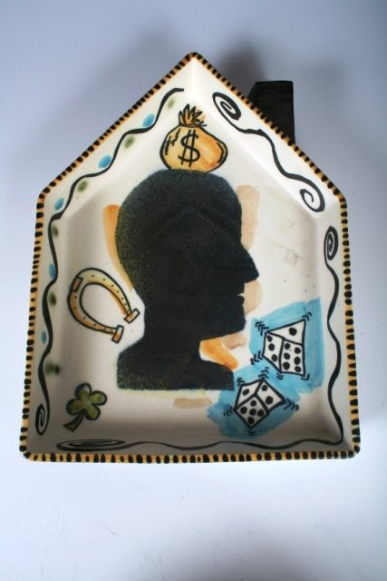 1008: House Shaped Ceramic Charger with Luck Theme