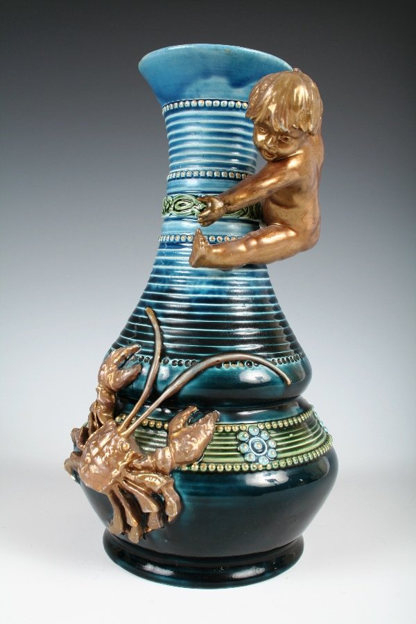 1013: German Secession Style Vase. Boy with Crab. Botto