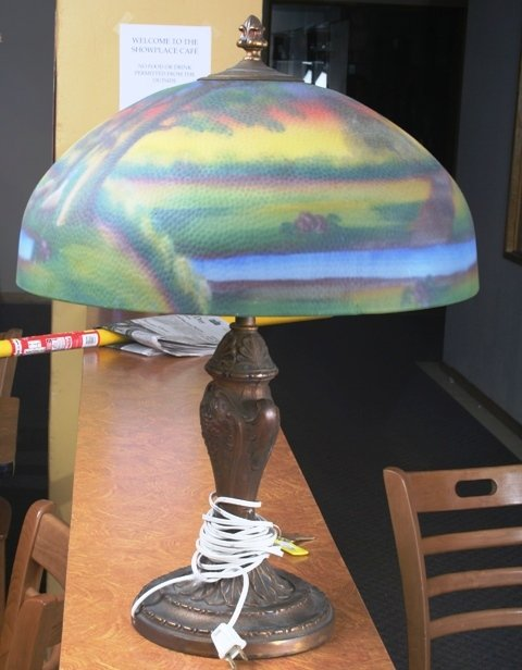 1017: Bronze Lamp w/ Reverse Painted Glass Shade. Marke