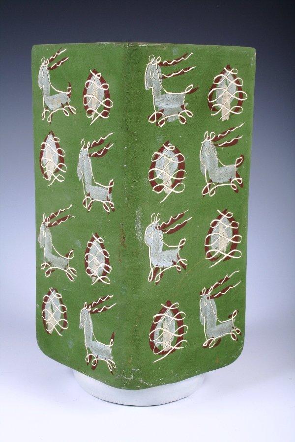 "1018: Unusual Green Geometric Ceramic Vase Signed ""Mali"