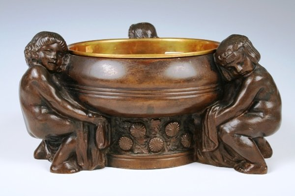1023: Bronze Bowl with Children C1900