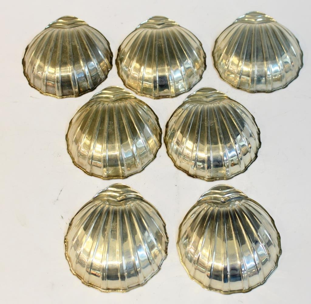 7 Rogers Sterling Silver Scallop-Form Nut Dishes - 3