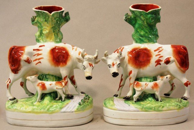 Pair of Staffordshire Hand-Painted Cow Spill Vases