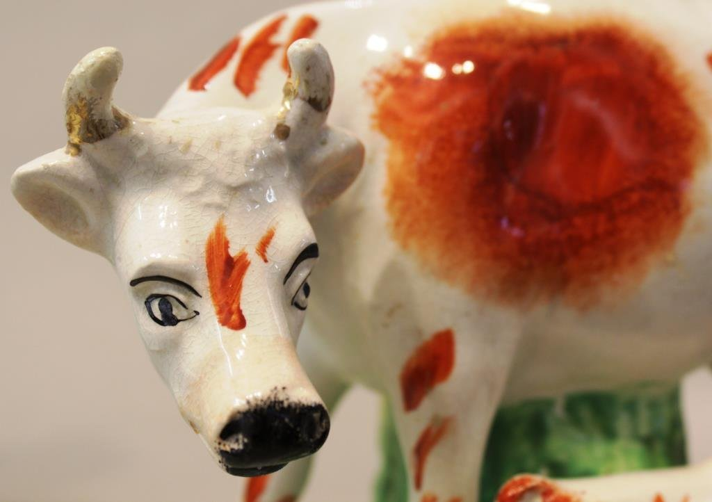 Pair of Staffordshire Hand-Painted Cow Spill Vases - 3
