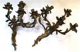 Pair of RococoForm Gilt Brass Wall Candelabra