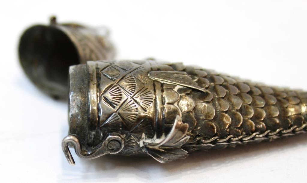 Antique Judaica Articulated Silver Fish Besamim - 3