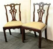 Pair of Irish Chippendale Walnut Side Chairs