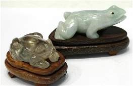 Two Small Carved Stone Frogs