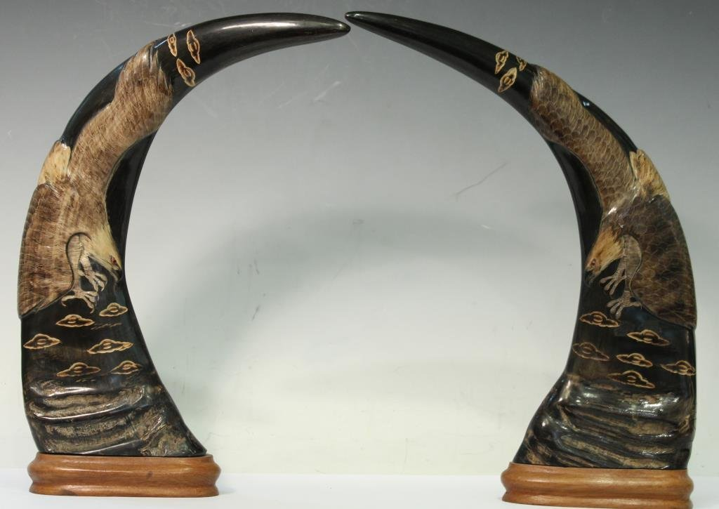 Pair of Southeast Asian Carved Water Buffalo Horns