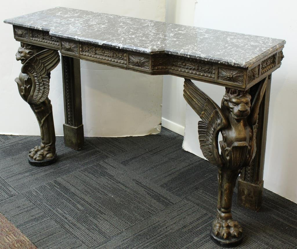 English Neo-Renaissance Style Marble-Top Buffet