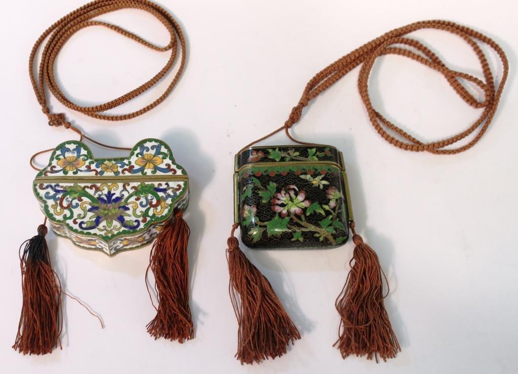 2 Chinese Cloisonné Snuff Case Pendants