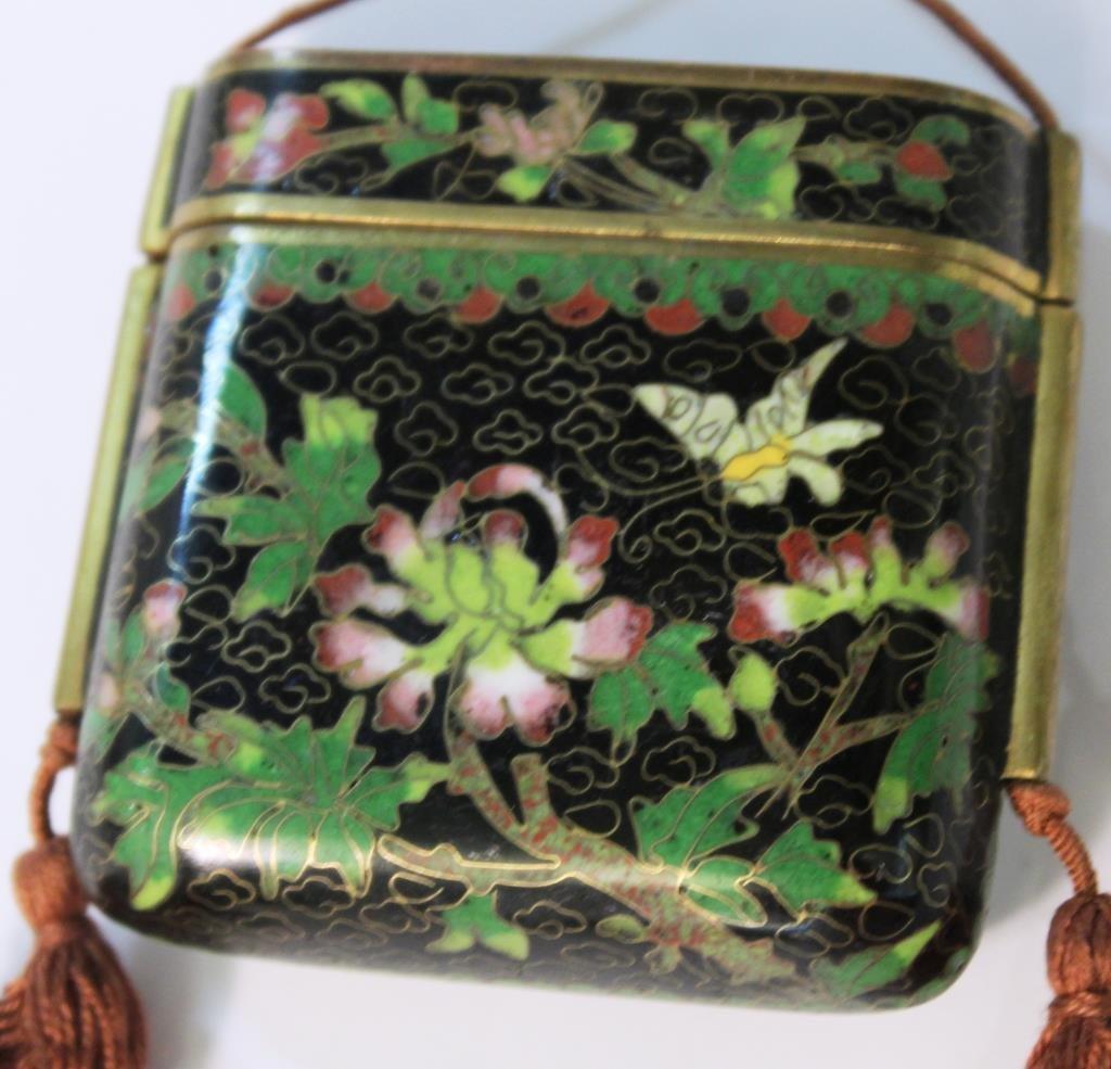 2 Chinese Cloisonné Snuff Case Pendants - 4