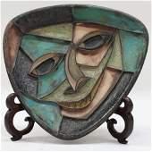 Mid-Century Modern Ceramic Face Plate