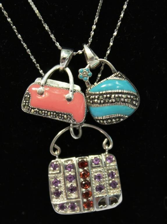3 Sterling Silver Purse-Form Pendants - 2