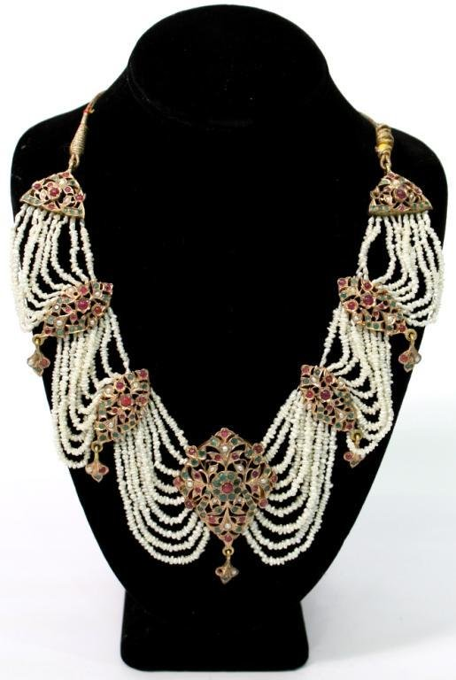 "Mughal Indian 10K Gold & Gems ""Maharani"" Necklace"