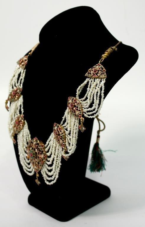 "Mughal Indian 10K Gold & Gems ""Maharani"" Necklace - 2"