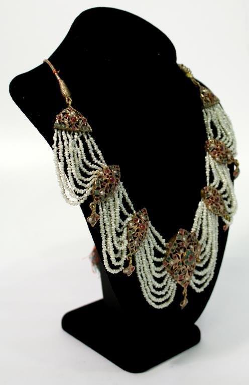 "Mughal Indian 10K Gold & Gems ""Maharani"" Necklace - 3"