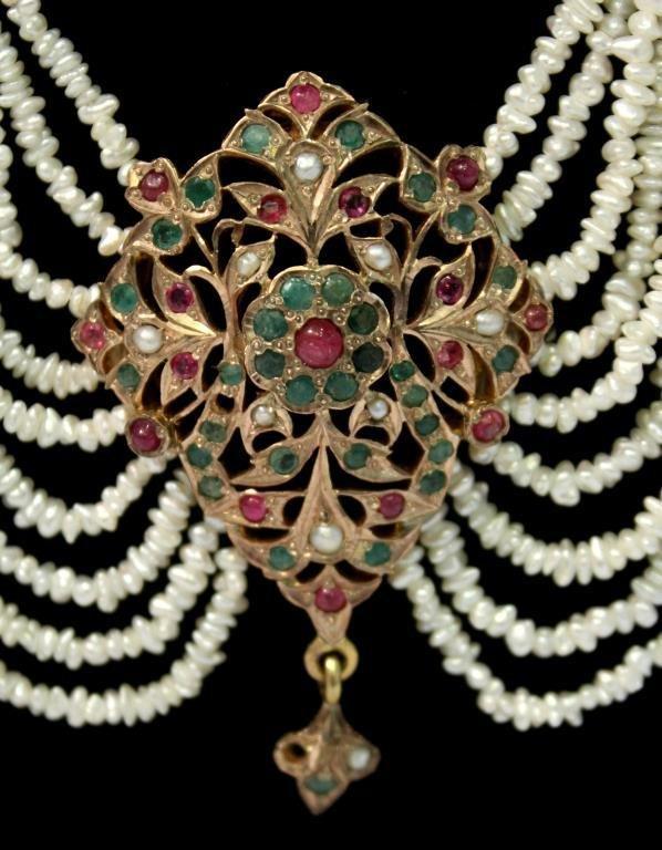 "Mughal Indian 10K Gold & Gems ""Maharani"" Necklace - 4"