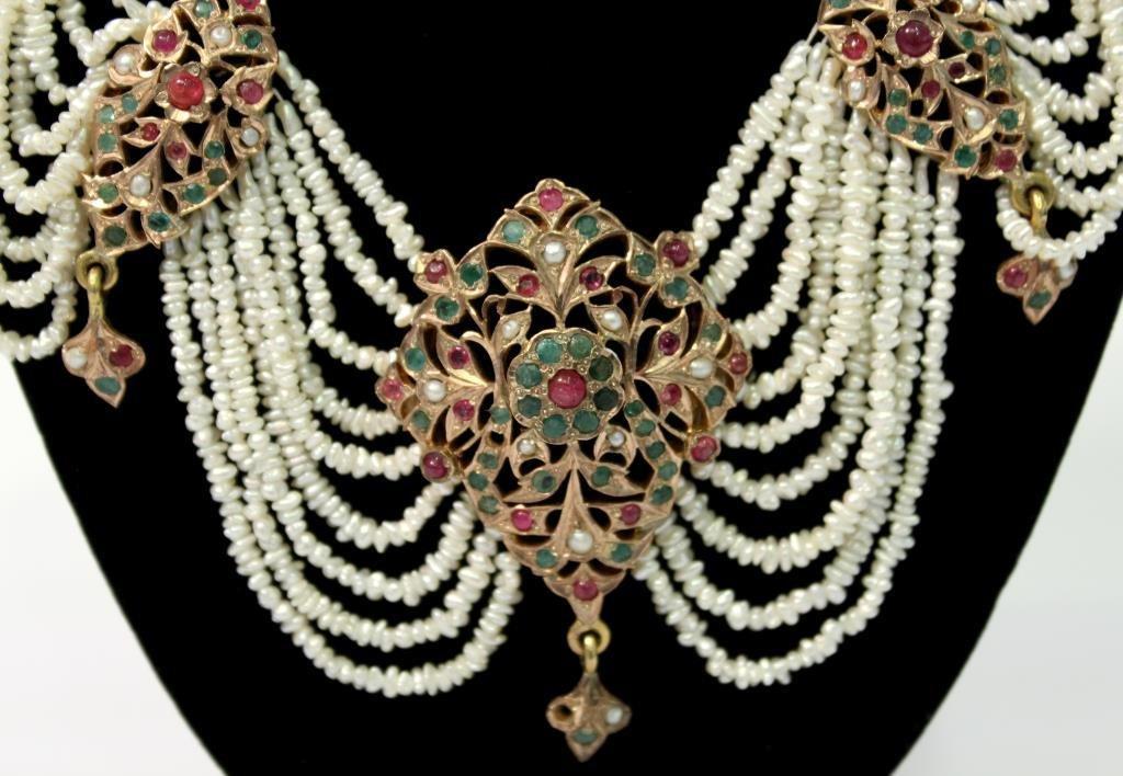 "Mughal Indian 10K Gold & Gems ""Maharani"" Necklace - 5"