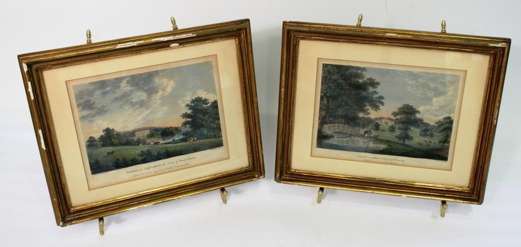 2 Hand-Colored English Prints of Country Seats