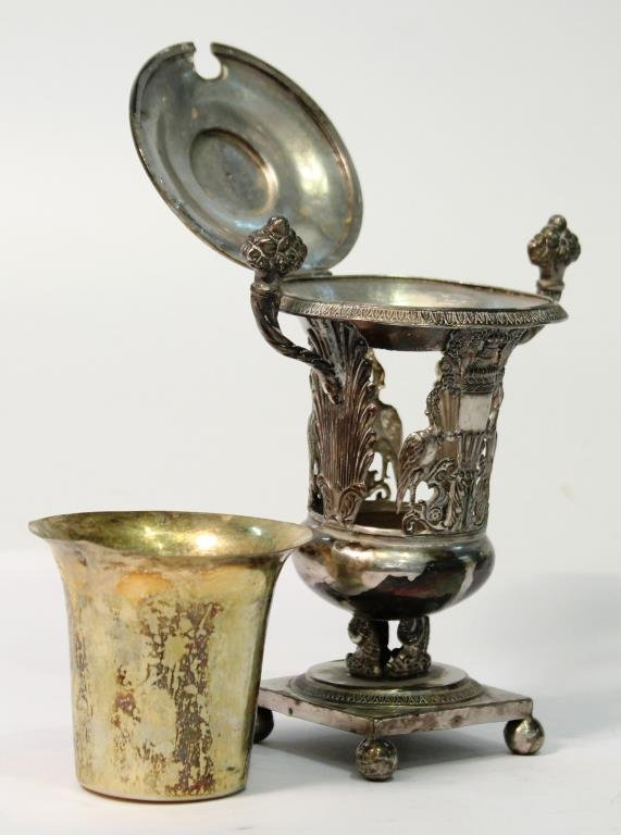 French Sterling & Vermeil Condiments Pot, 19th C. - 2