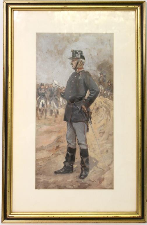 Signed Illegibly- Gouache on Canvas, Military Man - 2