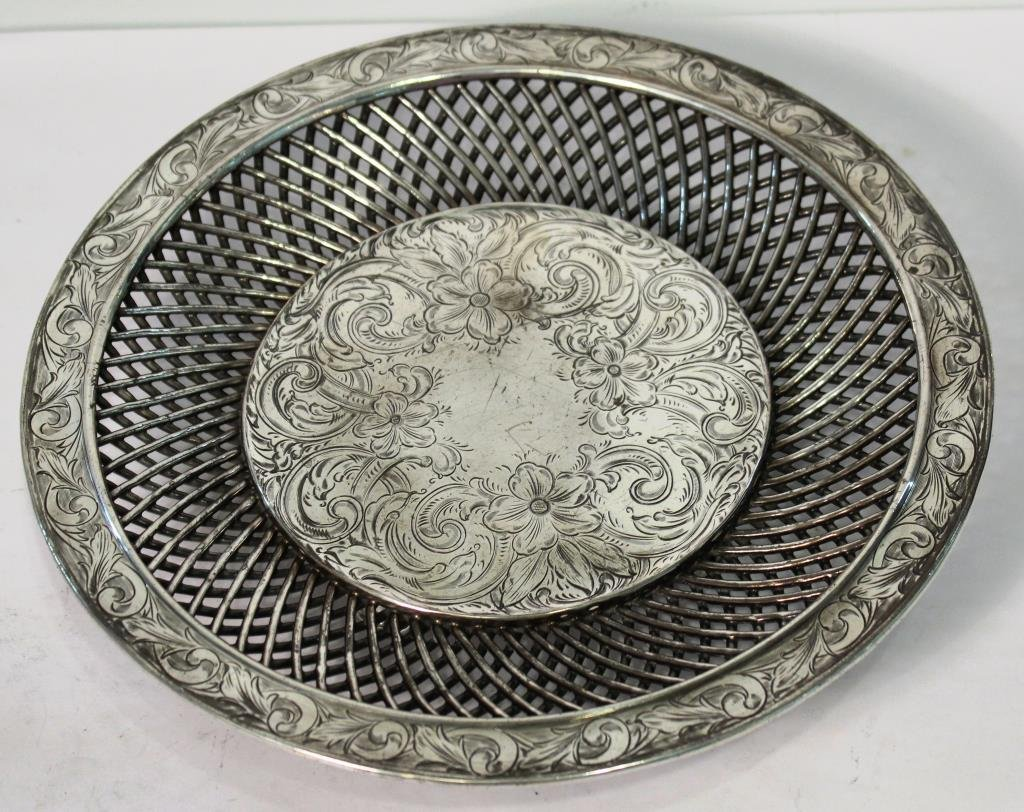 Vintage Silver-Topped Reticulated Porcelain Plate - 2