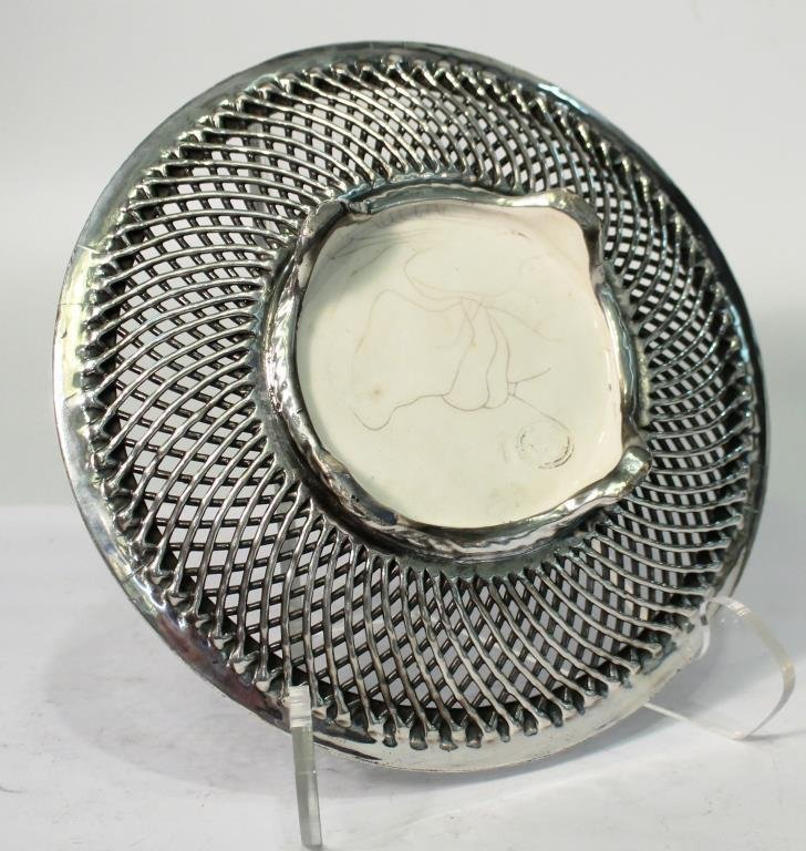 Vintage Silver-Topped Reticulated Porcelain Plate - 3