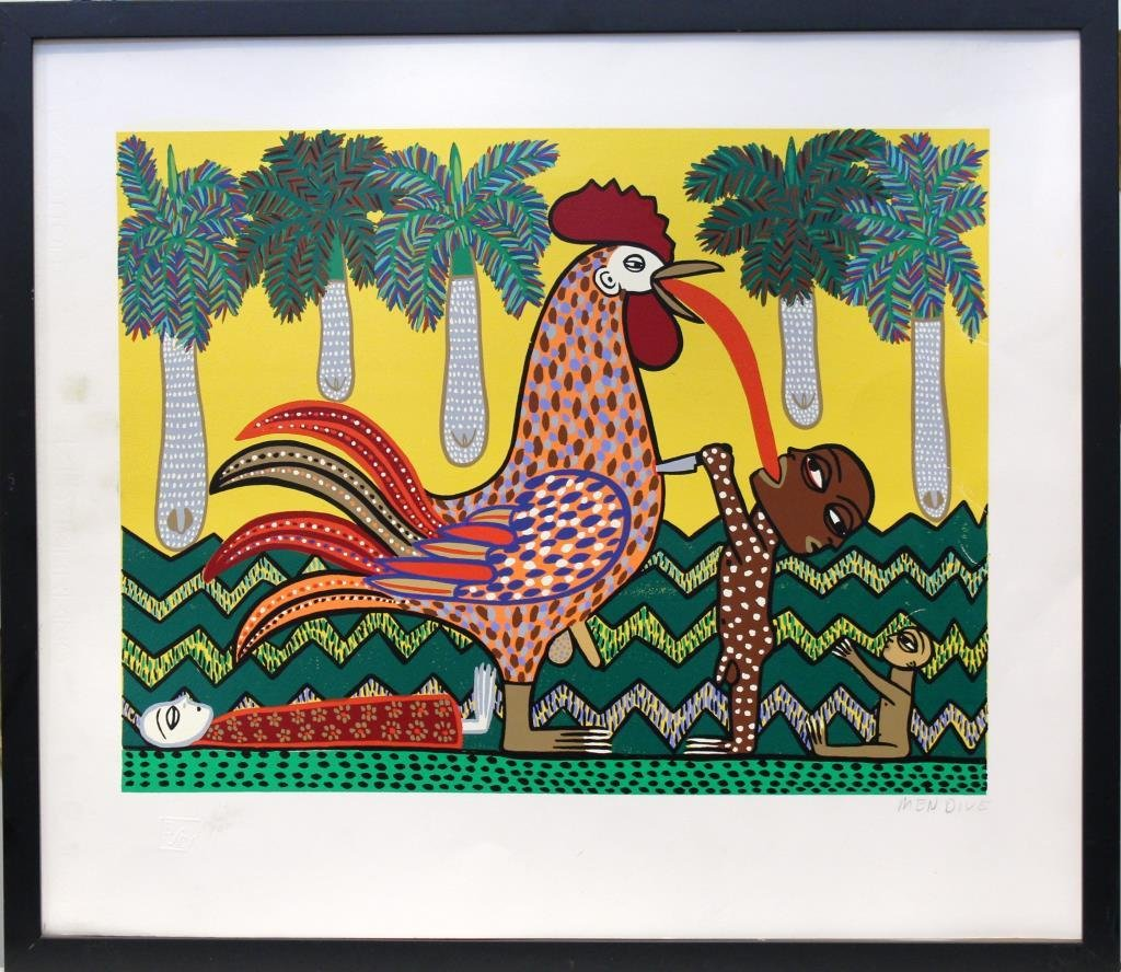 Manuel Mendive (Cuban, born 1944)- Lithograph