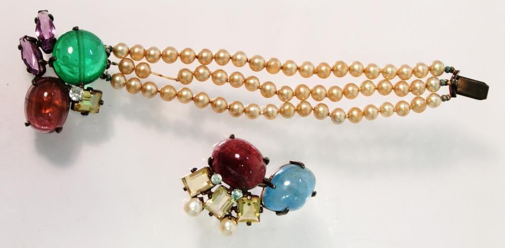 Sterling & Semiprecious Stone Bracelet &Brooch Set
