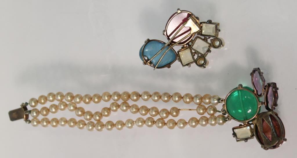 Sterling & Semiprecious Stone Bracelet &Brooch Set - 2