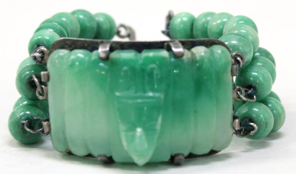 Vintage Mexican Silver & Agate Bracelet - 2