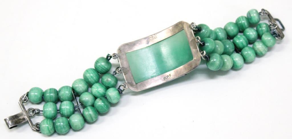Vintage Mexican Silver & Agate Bracelet - 3