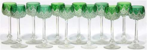 12 Baccarat Green Cut to Clear Wine Hocks