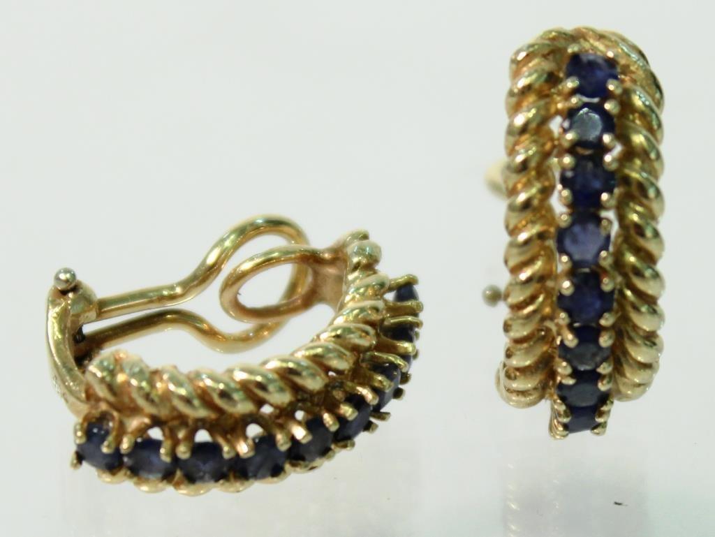 Pair of Vintage 14K Gold & Topaz Earrings