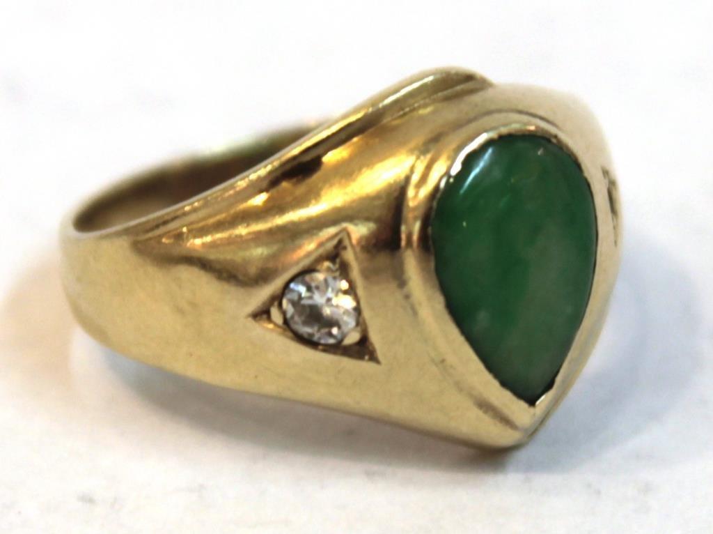 Vintage 14K Gold, Nephrite Jade, & Diamond Ring