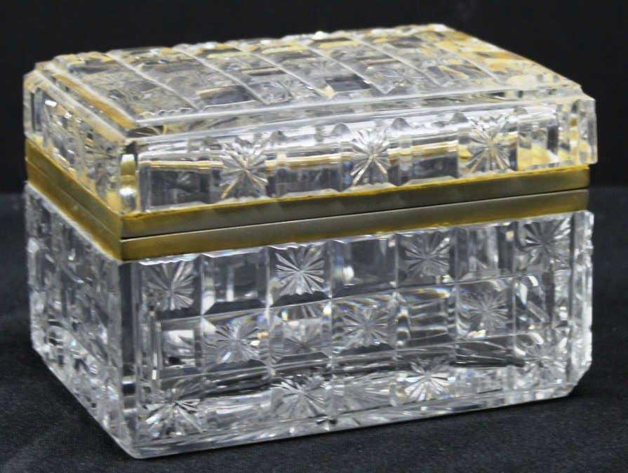 Small Bohemian Lead Cut Crystal Ormolu-Mounted Box
