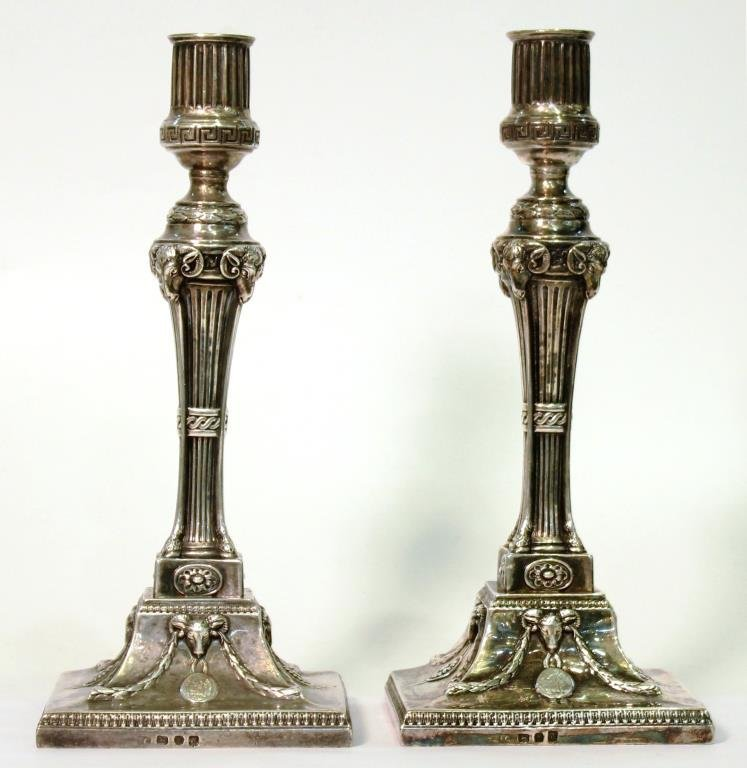 Pair George III Weighted Sterling Candlesticks