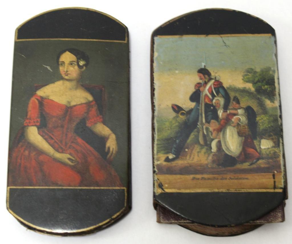 2 Painted Papier Mâché Spectacle Cases, 19th C.