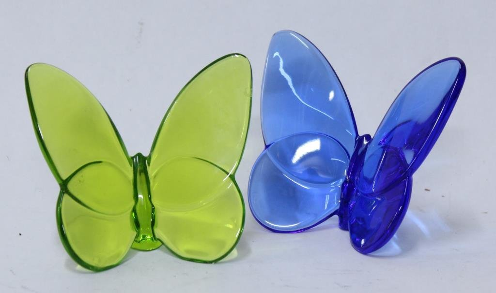 """2 Baccarat Colored Crystal """"Papillon"""" Paperweights"""
